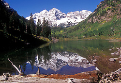 Maroon Bells, with reflection, Aspen, Colorado.