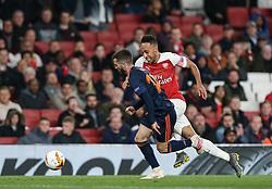 Pierre-Emerick Aubameyang of Arsenal runs at the Valencia defence - Mandatory by-line: Arron Gent/JMP - 02/05/2019 - FOOTBALL - Emirates Stadium - London, England - Arsenal v Valencia - UEFA Europa League Semi-Final 1st Leg