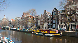Boat houses along canal, Amsterdam