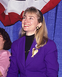"Hillary Rodham Clinton, wife of Governor Bill Clinton (Democrat of Arkansas), attends a rally for her husband at Hesser Business College in Manchester, NH, USA on February 17, 1992. The Clintons were campaigning in advance of New Hampshire's ""First in the Nation"" presidential primary. Photo by Ron Sachs/CNP/ABACAPRESS.COM"
