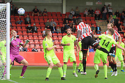 Amari Morgan-Smith scores his 2nd goal of the game during the Vanarama National League match between Cheltenham Town and Southport at Whaddon Road, Cheltenham, England on 15 August 2015. Photo by Antony Thompson.