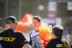 Manon Carpenter is delighted with her maiden World Cup win during the 2014 UCI Mountainbike World Cup at Pietermaritzburg, South Africa.