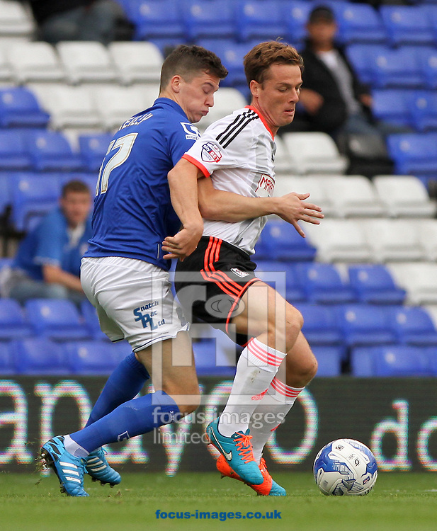 Callum Reilly (left) of Birmingham City and Scott Parker (right) of Fulham during the Sky Bet Championship match at St Andrews, Birmingham<br /> Picture by Tom Smith/Focus Images Ltd 07545141164<br /> 27/09/2014