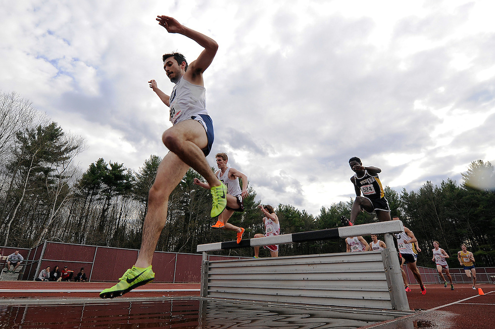 AMHERST, MA - MAY 3: Evan Gomez of Duquesne University (65) and Mohamed Adam of Virginia Commonwealth University (524) compete in the men's 3,000 meter steeplechase during Day 1 of the Atlantic 10 Outdoor Track and Field Championships at the University of Massachusetts Amherst Track and Field Complex on May 3, 2014 in Amherst, Massachusetts. (Photo by Daniel Petty/Atlantic 10)