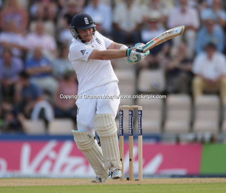 Ian Bell bats during his century in the third Investec Test Match between England and India at the Ageas Bowl, Southampton. Photo: Graham Morris/www.cricketpix.com (Tel: +44 (0)20 8969 4192; Email: graham@cricketpix.com) 28/07/14