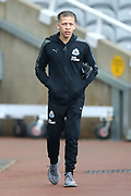 Dwight Gayle (#9) of Newcastle United arrives ahead of the Premier League match between Newcastle United and Southampton at St. James's Park, Newcastle, England on 10 March 2018. Picture by Craig Doyle.