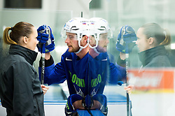 Manca Marc Globevnik, physiotherapist with Jan Urbas of Slovenia during practice session of Slovenian Ice Hockey National Team at Day 4 of 2015 IIHF World Championship, on May 4, 2015 in Practice arena Vitkovice, Ostrava, Czech Republic. Photo by Vid Ponikvar / Sportida
