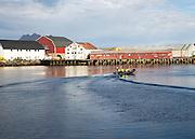 Tourist speed boat trip in harbour, Svolvaer, Lofoten Islands, Nordland, Norway