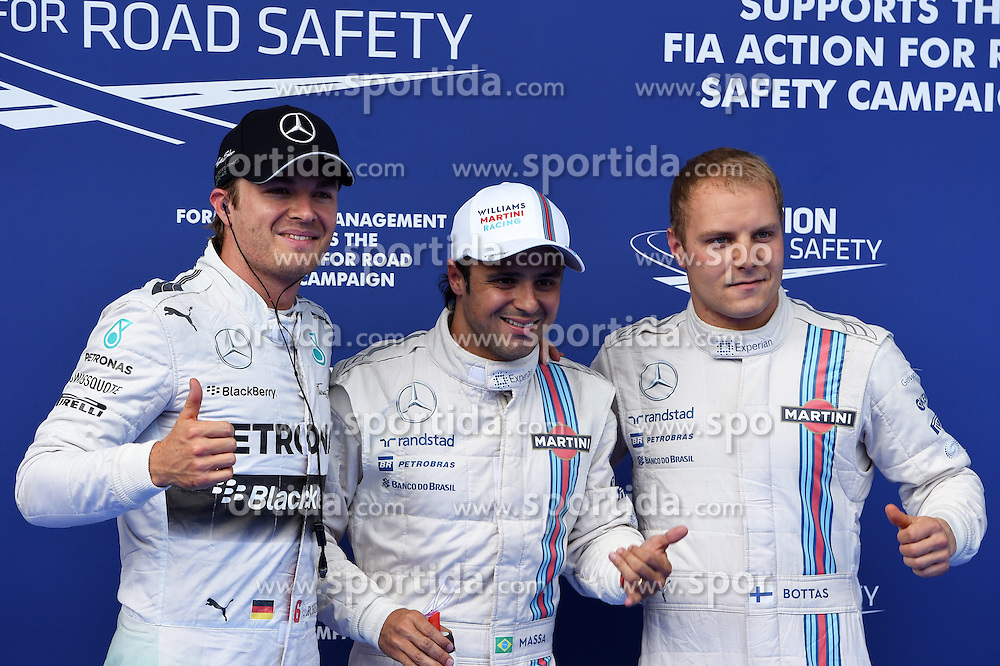 21.06.2014, Red Bull Ring, Spielberg, AUT, FIA, Formel 1, Grosser Preis von &Ouml;sterreich, Qualifying, im Bild (L to R): Nico Rosberg (GER) Mercedes AMG F1, pole sitter Felipe Massa (BRA) Williams and Valtteri Bottas (FIN) Williams celebrate in parc ferme. // during the qualifying of the Austrian Formula One Grand Prix at the Red Bull Ring in Spielberg, Austria on 2014/06/21. EXPA Pictures &copy; 2014, PhotoCredit: EXPA/ Sutton Images<br /> <br /> *****ATTENTION - for AUT, SLO, CRO, SRB, BIH, MAZ only*****