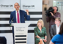 © Licensed to London News Pictures. 16/05/2019. Bath, Bath and North East Somerset, UK. CHUKA UMUNNA, a Change UK MP speaks at a Change UK - The Independent Group rally at Bath Cricket Club as part of campaigning in the elections for the European Parliament. RACHEL JOHNSON (seated) is the lead Change UK candidate for south west England. Photo credit: Simon Chapman/LNP
