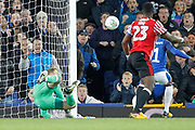 acrobatic save from Sunderland goalkeeper Jason Steele (1) during the EFL Cup match between Everton and Sunderland at Goodison Park, Liverpool, England on 19 September 2017. Photo by Craig Galloway.