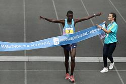 November 12, 2017 - Athens, Attica , Greece - The winner, Samuel Kalalei of Kenya at the finish line of the 35th Athens Classic Marathon, at the Panathenaic stadium in Athens, Greece, on Sunday November 12, 2017  (Credit Image: © Panayotis Tzamaros/NurPhoto via ZUMA Press)