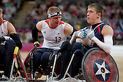 Aaron Phipps of Great Britain in the Wheelchair Rugby Mixed.Pool Phase of Group A,.USA 56 - 44 GBR at the Basketball arena on day 7 of the London 2012 Paralympic Games. 6th September 2012.