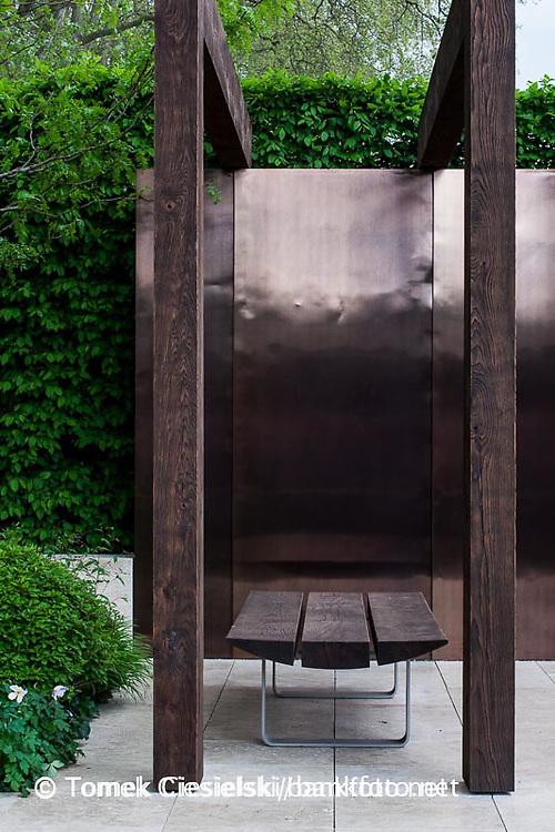 Metal and wood pergola