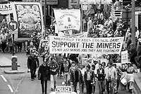 Sheffield Trades Council marching in support of striking miners on Yorkshire & Humberside Regional TUC day of action in Sheffield. 21 May 1984...© Martin Jenkinson martin@pressphotos.co.uk. Copyright Designs & Patents Act 1988, moral rights asserted credit required. No part of this photo to be stored, reproduced, manipulated or transmitted to third parties by any means without prior written permission