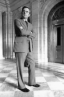 1976, Washington, DC, USA --- Walter Mondale, Minnesota senator and Jimmy Carter's vice presidential running mate, stands with arms folded at the Senate Chamber in the US Capitol. --- Image by © Owen Franken/Corbis