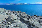 Kluane Lake and rocky shoreline<br /> Kluane National Park<br /> Yukon<br /> Canada