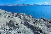 Kluane Lake and rocky shoreline<br /> Kluane National Park<br /> Yukon<br /> Canada