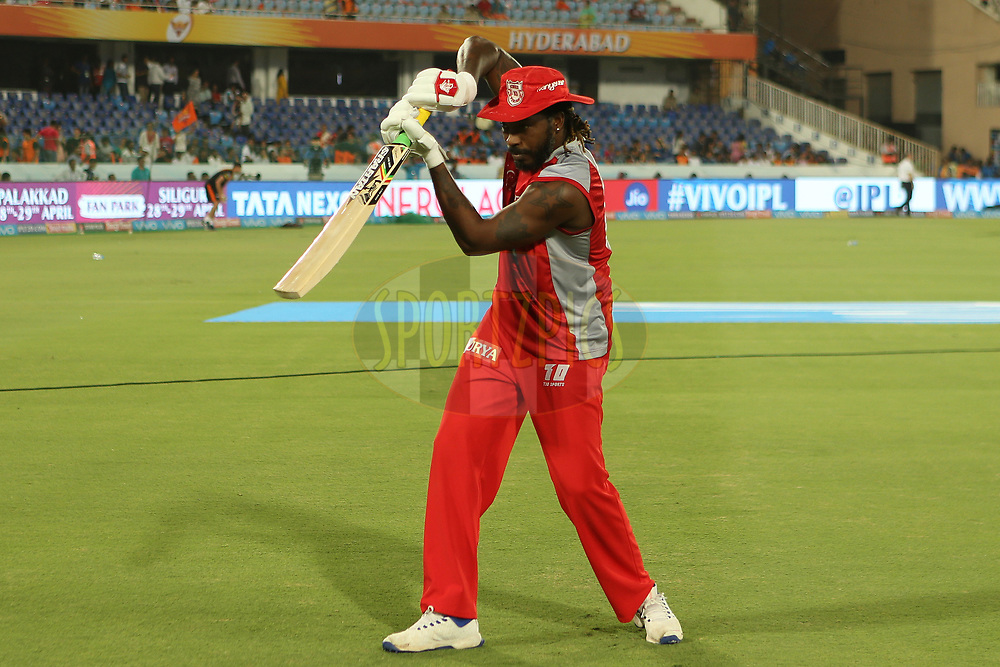 Chris Gayle of the Kings XI Punjab during match twenty five of the Vivo Indian Premier League 2018 (IPL 2018) between the Sunrisers Hyderabad and the Kings XI Punjab  held at the Rajiv Gandhi International Cricket Stadium in Hyderabad on the 26th April 2018.<br /> <br /> Photo by: Ron Gaunt /SPORTZPICS for BCCI