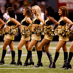 August 27, 2010; New Orleans, LA, USA; New Orleans Saints Saintssations cheerleaders perform during the first half of a preseason game at the Louisiana Superdome. The New Orleans Saints defeated the San Diego Chargers 36-21. Mandatory Credit: Derick E. Hingle