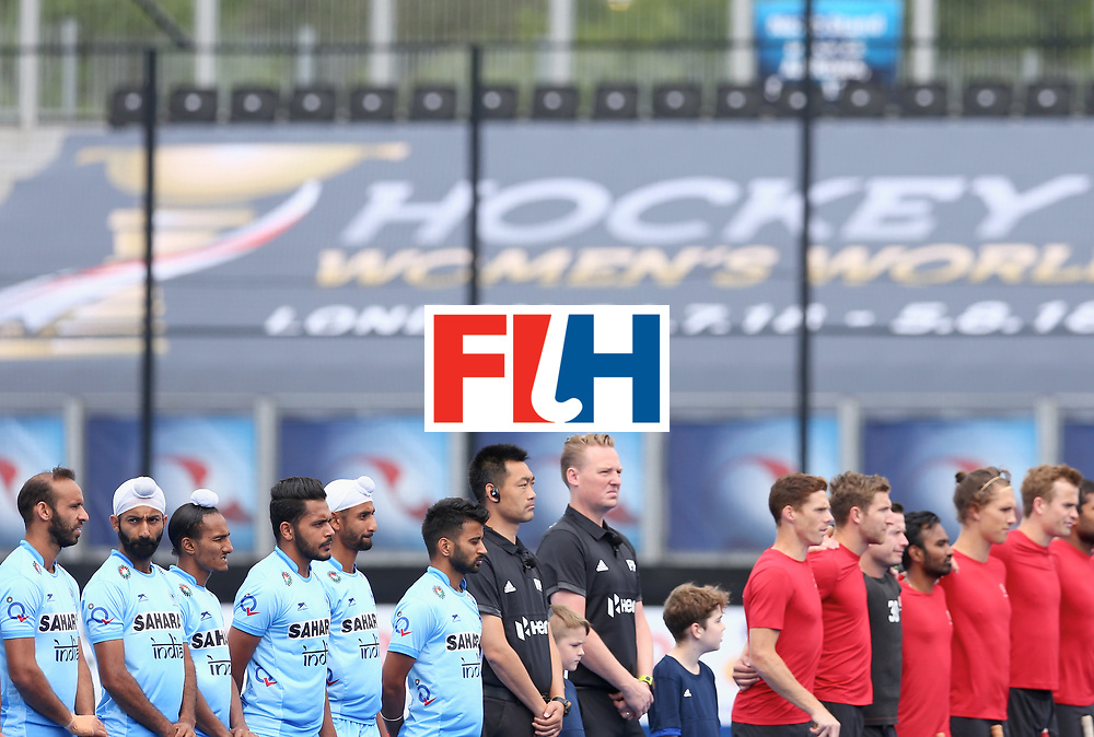 LONDON, ENGLAND - JUNE 25: India and Canada players line up prior to the 5th/6th place match between India and Canada on day nine of the Hero Hockey World League Semi-Final at Lee Valley Hockey and Tennis Centre on June 25, 2017 in London, England. (Photo by Steve Bardens/Getty Images)