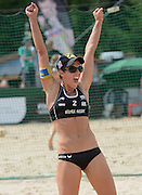 STARE JABLONKI POLAND - July 5: Stefanie Schwaiger of Austria in action during Day 5 of the FIVB Beach Volleyball World Championships on July 5, 2013 in Stare Jablonki Poland.  (Photo by Piotr Hawalej)