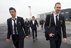 Sinisa Andzelkovic, Armin Bacinovic and Tim Matavz at departure of Slovenia's National football team to Belfast, Northern Ireland for EURO 2012 Quaifications game between National teams of Slovenia and Northern Ireland, on March 28, 2011, at Airport Edvard Rusjan, Maribor, Slovenia.  (Photo by Vid Ponikvar / Sportida)
