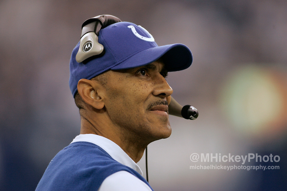 WireImage #10639083--Indianapolis coach Tony Dungy looks up at the scoreboard during action against Jacksonville at the RCA Dome in Indianapolis, Indiana on September 24, 2006.