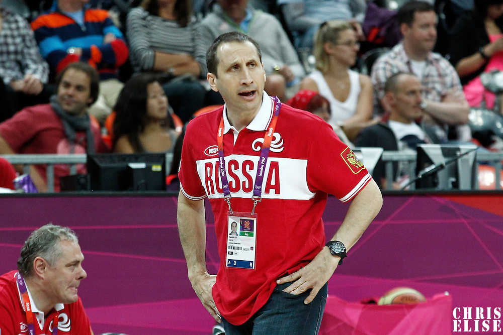 31 July 2012: Russia head coach Robert Jr Donewald is seen during the 73-54 Russia victory over China, during the men's basketball preliminary, at the Basketball Arena, in London, Great Britain.