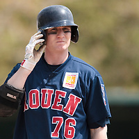 25 April 2010: Aaron Hornostaj of Rouen is seen at bat during game 1/week 3 of the French Elite season won 12-4 by Rouen over the PUC, at the Pershing Stadium in Vincennes, near Paris, France.