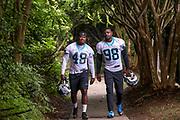 Carolina Panthers linebacker Jonathon Celestin(48) and defensive end Marquis Haynes(98) during minicamp at Bank of America Stadium, Thursday, June 13, 2019, in Charlotte, NC. (Brian Villanueva/Image of Sport)