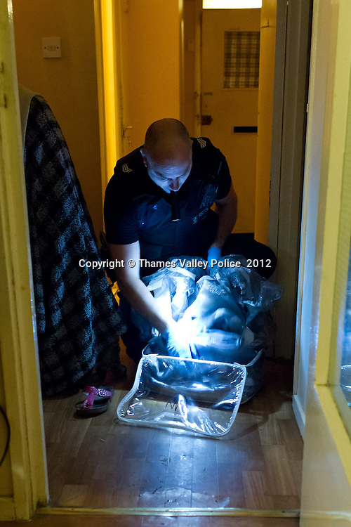 As part of OPERATION ROUSE, Thames Valley Police has this morning (6/12), executed a series of warrants at twenty two properties in Milton Keynes following an investigation into the supply and use of drugs. Officers from Thames Valley Police have carried out a series of warrants under the Misuse of Drugs Act in Milton Keynes, as well as in the Northamptonshire and the Metropolitan area, assisted by officers from the Metropolitan Police.. Milton Keynes, UNITED KINGDOM. December 06 2012. <br /> Photo Credit: MDOC/Thames Valley Police<br /> &copy; Thames Valley Police 2012. All Rights Reserved. See instructions.