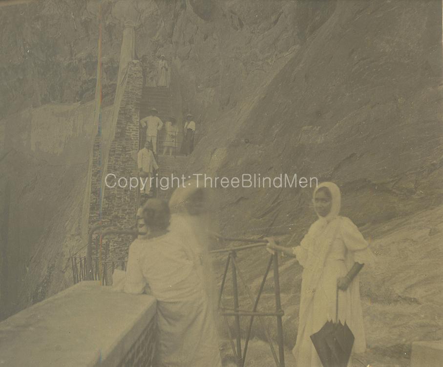 Climbing Sigiriya.<br /> From the Chloe de Soysa collection.