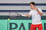 Sopot, Poland - 2018 April 06: Daniel Michalski from Poland plays tennis one day before Poland v Zimbabwe Tie Group 2, Europe/Africa Second Round of Davis Cup by BNP Paribas at 100 years of Sopot Hall on April 06, 2018 in Sopot, Poland.<br /> <br /> Mandatory credit:<br /> Photo by © Adam Nurkiewicz / Mediasport<br /> <br /> Adam Nurkiewicz declares that he has no rights to the image of people at the photographs of his authorship.<br /> <br /> Picture also available in RAW (NEF) or TIFF format on special request.<br /> <br /> Any editorial, commercial or promotional use requires written permission from the author of image.