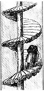 Woman carrying a load of coal up a 'turnpike'  spiral stair - Scotland. From Matthias Dunn 'A Treatise on the Winning and Working of Collieries', Newcastle-upon-Tyne, 1848. Engraving