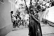 Haiti Earthquake, Port au Prince.<br /> Girls form an orphanage lives in the yard with no tent or any thing.