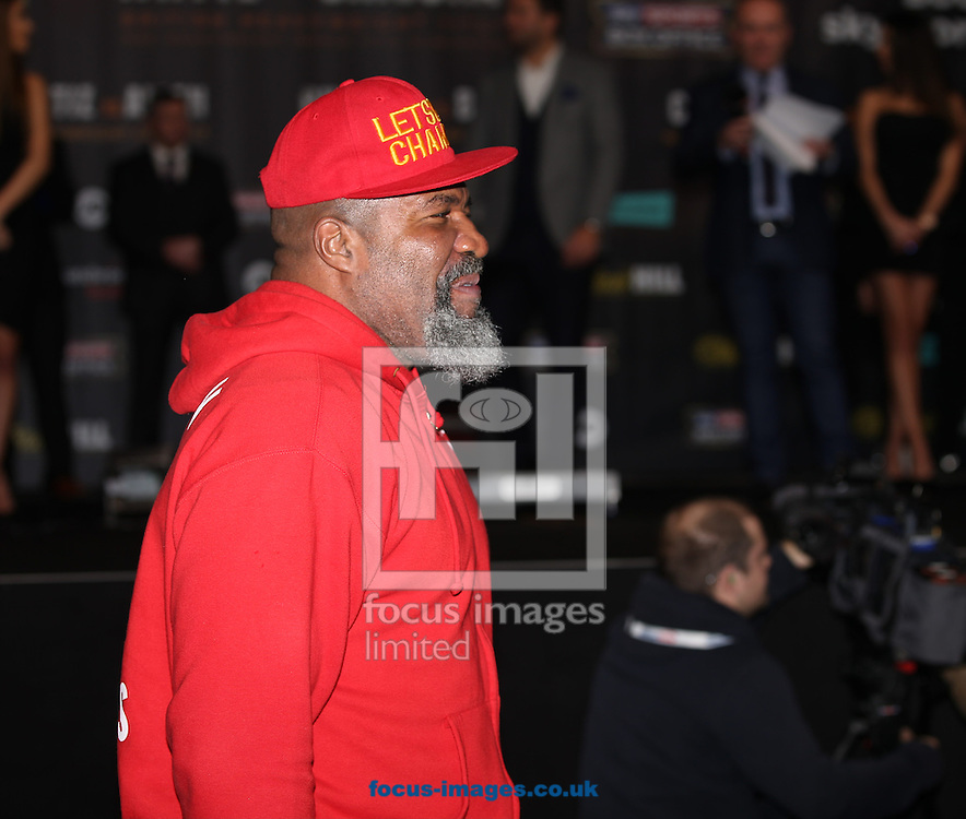 Shannon Briggs enters the building during the weigh in for the Joshua v Molina IBF Heavyweight title fight at Victoria Warehouse, Manchester<br /> Picture by James Wilson/Focus Images Ltd 07709 548263<br /> 09/12/2016