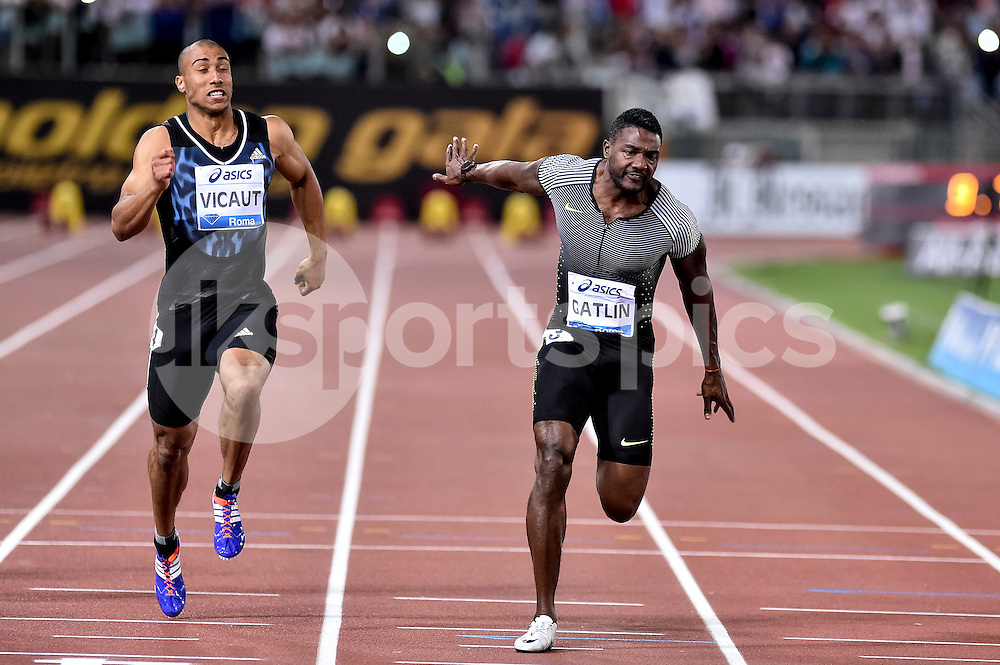 Justin Gutlin (USA) wins 100 men during the IAAF Diamond League Golden Gala Pietro Mennea at Stadio Olimpico, Rome, Italy on 2 June 2016. Photo by Giuseppe Maffia.