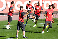 Atletico de Madrid's Antonio Lopez, Paulo Assuncao, Cleber Santana, Juanito and Sinama-Pongolle during training session. October 26 20079. (ALTERPHOTOS/Acero).