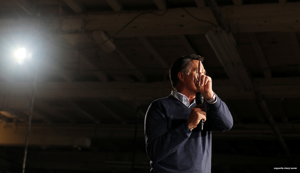 Republican 2012 presidential candidate, former Massachusetts Gov. Mitt Romney, answers a heckler's question during while speaking at the Portland Company Marine Complex in Portland, ME, Friday, Feb. 10, 2012 . (Cheryl Senter for the New York Times) Mitt Romney