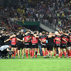 Mourad Boudjellal Presidentand players of Toulon celebrates winning during the Top 14 semi final match between La Rochelle and Rc Toulon at Orange Velodrome on May 26, 2017 in Marseille, France. (Photo by Alexandre Dimou/Icon Sport)