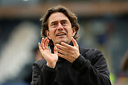 Brentford Manager Thomas Frank Celebrates towards the away fans at full time as Brentford beat Hull City 1-5 during the EFL Sky Bet Championship match between Hull City and Brentford at the KCOM Stadium, Kingston upon Hull, England on 1 February 2020.