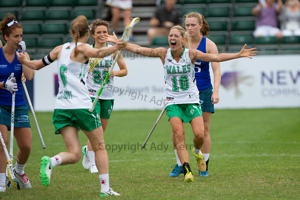 Wales' laura Warren celebrates her thrid goal agauinst Scotland  at the 2017 FIL Rathbones Women's Lacrosse World Cup, at Surrey Sports Park, Guildford, Surrey, UK, 16th July 2017.