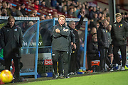 Scunthorpe United manager Stuart McCall  during the EFL Sky Bet League 1 match between Scunthorpe United and Oxford United at Glanford Park, Scunthorpe, England on 3 November 2018.