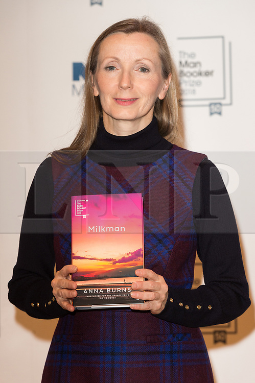 © Licensed to London News Pictures. 14/10/2018. London, UK. Author Anna Burns poses with her book Milkman during a photocall at the Royal Festival Hall, two days ahead of the announcement of the winning book of the 2018 Man Booker Prize. Six novelists have been shortlisted for the 2018 Man Booker Prize, a literary prize awarded for the best original novel in English credit: PhotoRay Tang/LNP