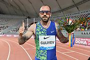 Ramil Guliyev (TUR) poses after winning the 200m in 19.99 during the IAAF Doha Diamond League 2019 at Khalifa International Stadium, Friday, May 3, 2019, in Doha, Qatar