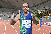 Ramil Guliyev (TUR) poses after winning the 200m in 19.99 during the IAAF Doha Diamond League 2019 at Khalifa International Stadium, Friday, May 3, 2019, in Doha, Qatar
