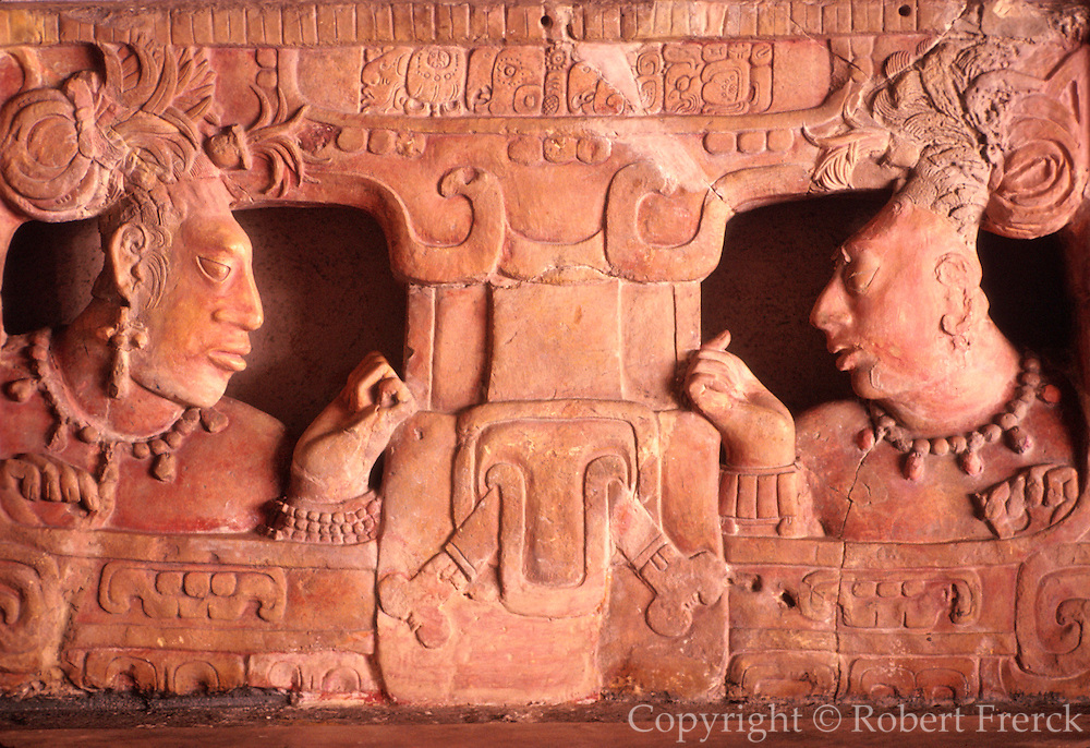 GUATEMALA, MAYAN CULTURE National Museum of Anthropology; altar/throne with relief of faces, from Piedras Negras, dated to AD785
