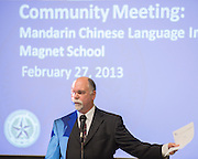 PBK architects and Houston ISD Bond staff  discuss the progress of the new Mandarin Chinese Language Immersion Magnet School with parents during a Bond Community meeting, February 27, 2014.
