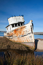 Abandoned shipwreck of the Point Reyes along the shore of Tomales Bay, near Point Reyes National Seashore, California, United States of America